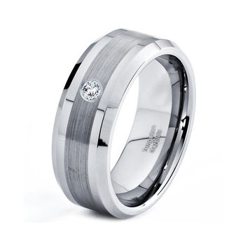 Mens Tungsten Carbide Wedding Band Ring 8mm White Diamond 5-15 Half Sizes Comfort Fit Brushed High Polished Beveled Edges Custom Engraved