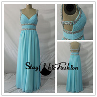 Sequined Waist Blue Long Ruched Bust V Neck Cutout Back Chiffon Prom Dress