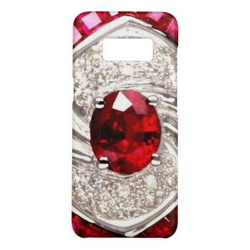 Cool Luxury Jeweled Red Ruby Crystal Bling Glitter Case-Mate Samsung Galaxy S8 Case