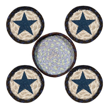 Earth Rugs Home Decorative CNB-312 Blue Star Coasters - 5 Round Jute Basket ...