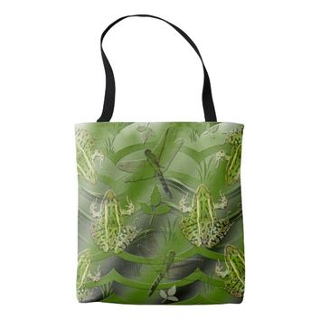 Camo Frogs Dragonflies Tote Bag