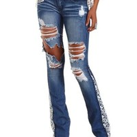 Dark Wash Denim Crochet-Trim Destroyed Flare Jeans by Charlotte Russe