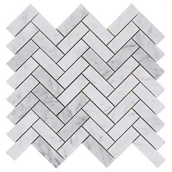 Carrara White Marble Honed 1 x 3 Herringbone Mosaic Tile