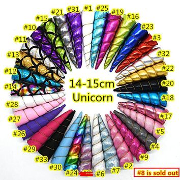 50pcs /lot shiny Unicorn horns ,creative toys DIY hair accessories non-woven fabric unicorn in 31colors for choice
