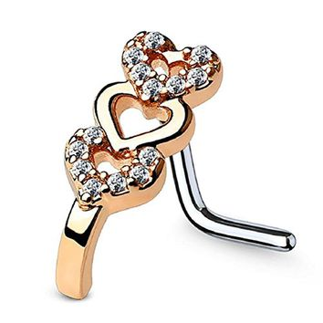 BodyJ4You 20G (0.8mm) Nose Ring L-Shape Bend Stud CZ Paved Heart Surgical Steel Rose Goldtone Nostril