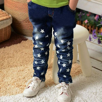 Kids Boy Fashion Star Print Denim Pants