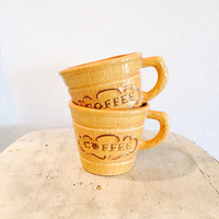 Vintage Coffee Mugs // 70's Chipper Yellow Coffee Mugs