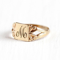 M Signet Ring - Art Deco 10k Rosy Yellow Gold Letter M Baby Band - 1920s Size 1/3 Initial Monogrammed Personalized Midi Knuckle Fine Jewelry