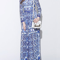 Blue Tile Print Long Sleeve Maxi Dress
