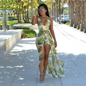 Bohemian Halter Floral Print Split Maxi Beach Dress Also Available In Plus Size