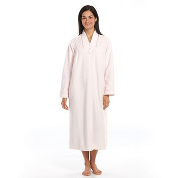 Miss Elaine Essentials Brushed Back Terry Zip Robe - Women's, Size: