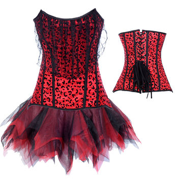 Red Animal Print Corset Tutu Dress
