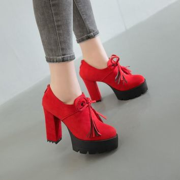 Solid Color Lace UP Platform High Chunky Heels Short Boots