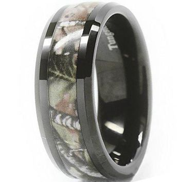 CERTIFIED 8mm Comfort Fit Black Tungsten carbide ring Men's Red Forest Camouflage Camo Hunting Wedding Band Bridal