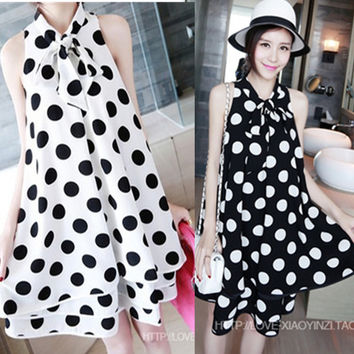 2016 New Fashion Polka Dot Print Sleeveless Chiffon Maternity Dresses Pregnant Women Summer Maternity Clothes Pregnancy Dress