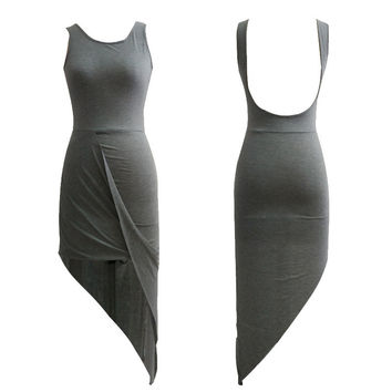 Gray Scoop Neck Sleeveless Backless Asymmetrical hem Midi Dress
