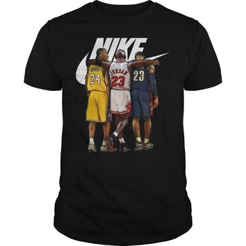 Nike Michael Jordan Hugging Kobe Bryant And Lebron James shirt Guys Tee