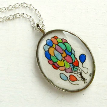 Hand Painted Pendant Up Balloons Original by TuckooandMooCow