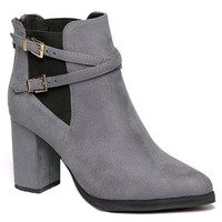 Gray Criss-Cross Strap and Elastic Design Boots