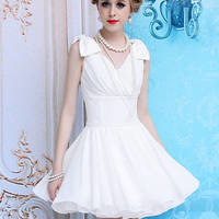 Kawaii Lolita Bowknot Shoulder Flouncing Chiffon Dress - S M L from Tobi's Finds