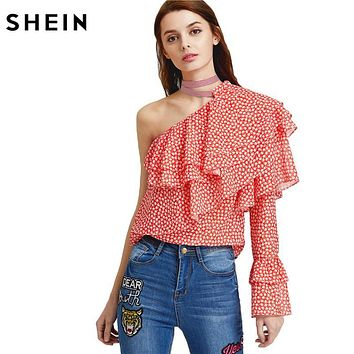 SHEIN Sexy Women Blouses Woman's Fashion 2017 Summer Boho Blouse Ladies One Shoulder Dot Print Layered Ruffle Top