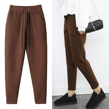 Winter Pants Warm Women Ankle Length Woolen Pant Thick High Waist Trousers Loose Work Casual Solid Wear Harem Pants