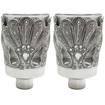 Glass Candle Holders With Silver Filigree