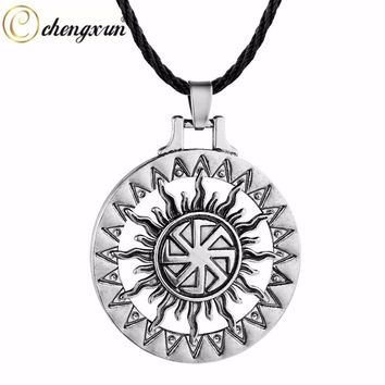 CHENGXUN Vintage Silver Gold Sun Necklace Pendant Black Rope Chain Celtic Talisman Collier Good Luck Jewelry for Friends Gift