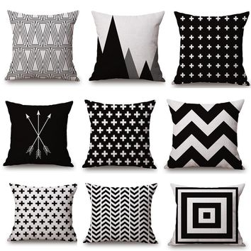 Black and White Geometry Pillowcase Cotton Linen Pillow Cover Cushion Home Decoration Family Gift 18X18''