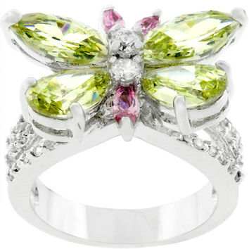 Silvertone Butterfly Cocktail Ring