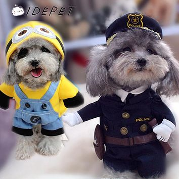 Funny Pet Dog Clothes Costumes for Small Dog Coats Puppy Hoodies Jackets Spring Autumn Warm Cat Outfit Police Ropa de Perro 50