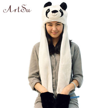 2015 New Brand Autumn Hat For Women Husky Cartoon Panda Plush Hat Ear Cap With Gloves Long Worm Thicker Girls Hats SK80026