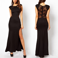 Women Sexy Lace See-through Back Slim Bodycon Split Side Maxi Long Party Dress