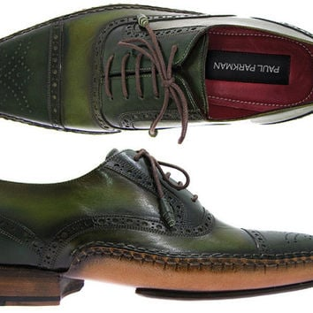 Paul Parkman Men's Side Handsewn Captoe Oxfords - Green / Yellow Leather Upper and Leather Sole