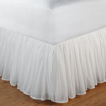Greenland Home Fashions Queen Size Bedskirt, Cotton Voile, White, 60x80x14 Inch