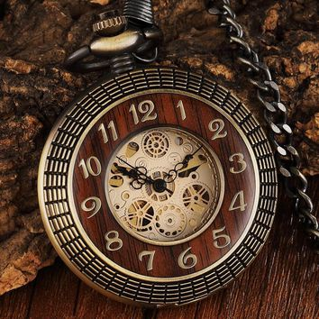 Vintage Wood Circle Carved Number Dial Mechanical Pocket Watch Men Unique Hollow Steampunk Bronze Mechanical Clock Watches Chain