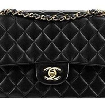 Ms. Chanel black leather bag size