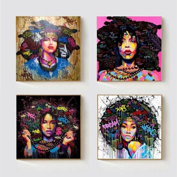 African American Black Abstract Women Portrait Wall Art Afro Poster Canvas Painting Home Wall Decor Pop Graffiti Style Dropship