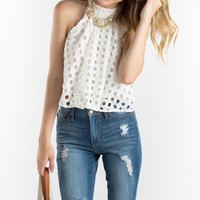 Talia White Crochet Halter Top