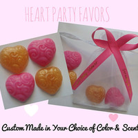 Pink & Gold Heart Soap Favors - Bridal Shower Gift Love Theme Romantic Party Favors for Wedding Guest Bath | Pack of 50