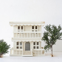 Vintage Handmade Wood House - Pine & Balsa Woods, Painted White, Christmas Village, White Home Decor, Whimsical Home Decor, Classic Neutrals
