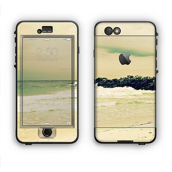 The Vintage Subtle Yellow Beach Scene Apple iPhone 6 LifeProof Nuud Case Skin Set