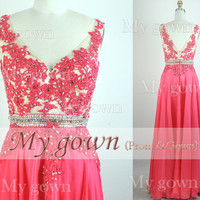 2014 Evening Dress,Straps Lace Beads Chiffon Red Prom Dress, Wedding Dress, Evening Gown,Formal Dresses,Evening Dress,Bridesmaid Dress