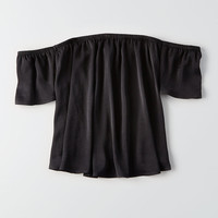 AEO Silky Off-the-Shoulder Top, True Black