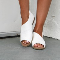 New Habit White Open Toe Flat