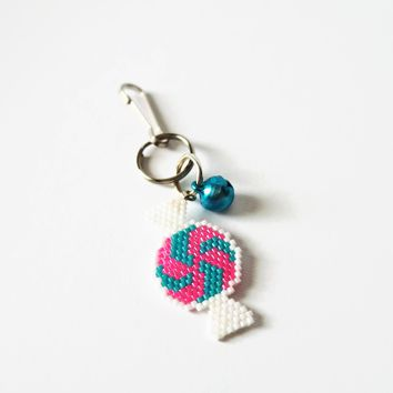 Pink And Blue Beaded Candy Charm And Decor