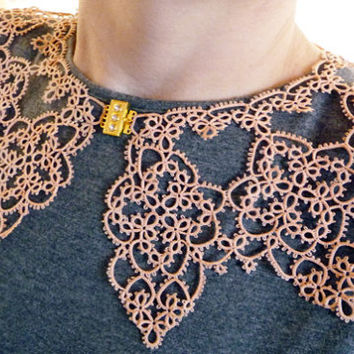 Handmade Collar - peach collar - lace collar - feminine accessories - elegant collar - vintage style - tatting - for woman - for her
