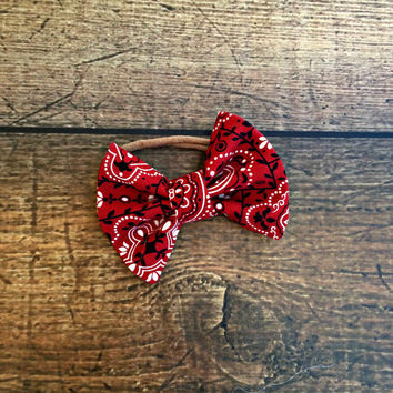 bandana print baby bow, baby bows, baby headband, newborn headband, baby girl bow headbands, baby bow set, hair bows, baby shower gift, baby