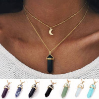 Best Friends Crystal Opals Natural Stone Quartz Chokers Women Moon Pendant Necklace Gothic Double Layer Chocker Collier #229163
