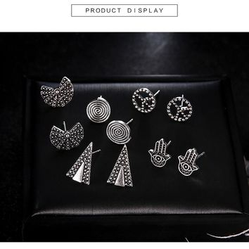 Hot Sale Simple Women Silver Earring Set Vintage Sliver Color Carving Geometric Fan Triangle Spiral Palm Stud Earring 5Pairs /Se